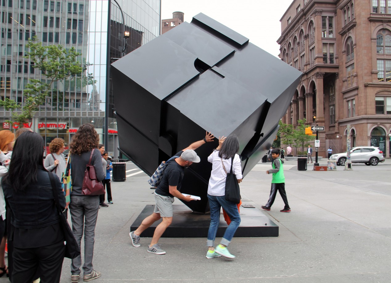 2. The Astor Place Cube sculpture, Alamo,by Tony Rosenthal gets a spin during a visit to the East Village.