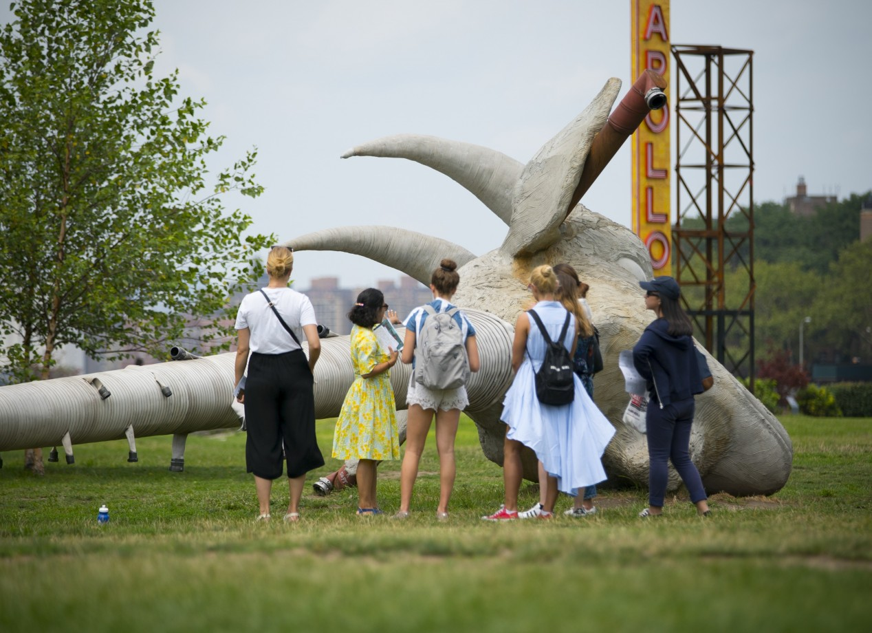 5. A Friday morning tour of Socrates Sculpture Park in Long Island City, featuring the work of Nari Ward.