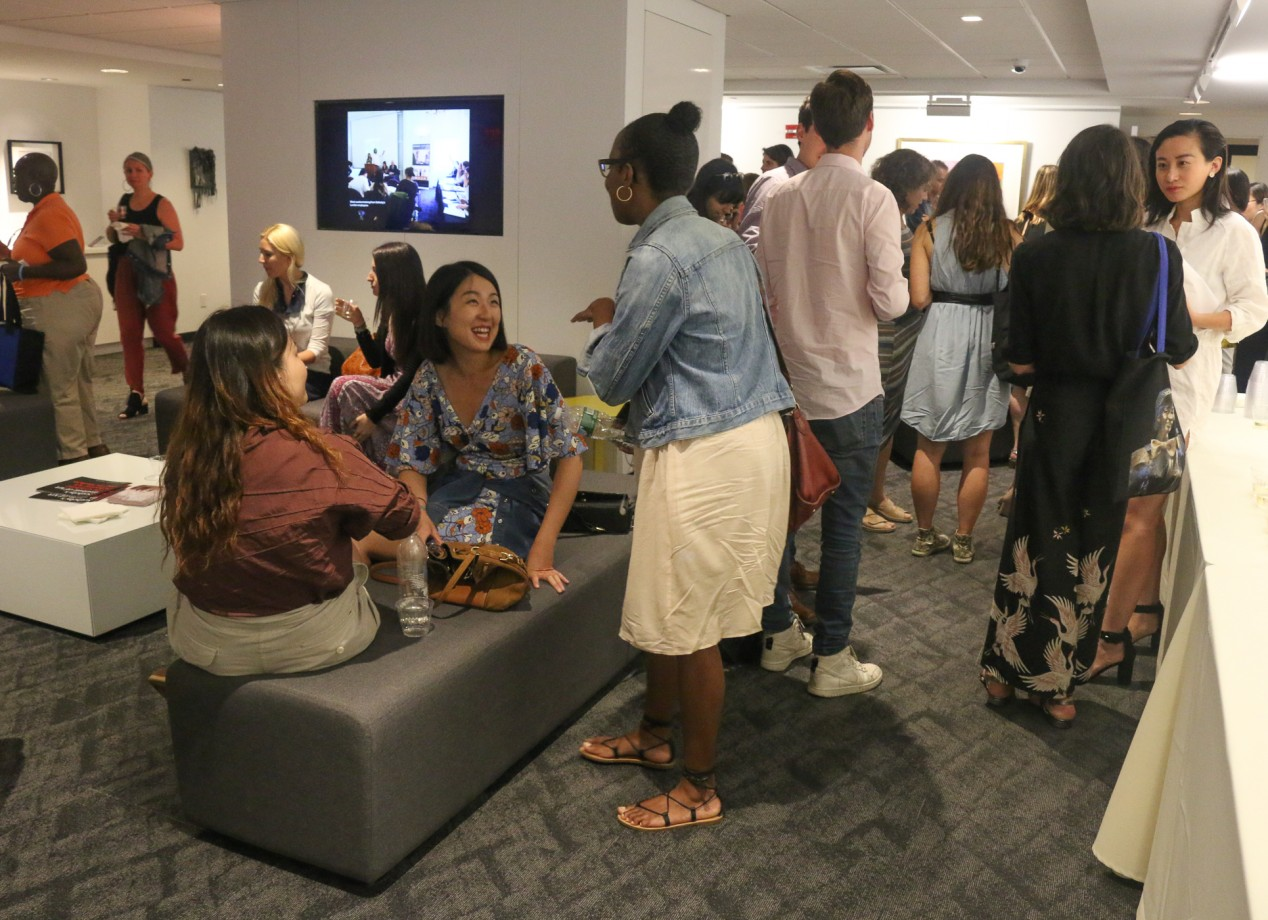 10. Students get to know one another at a meet and greet reception.